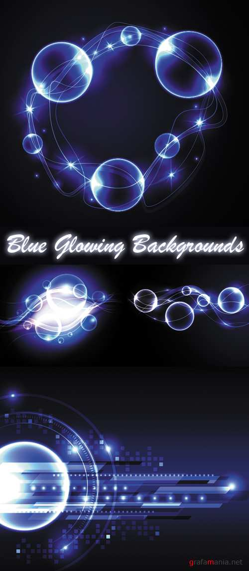 Blue Glowing Backgrounds Vector 2