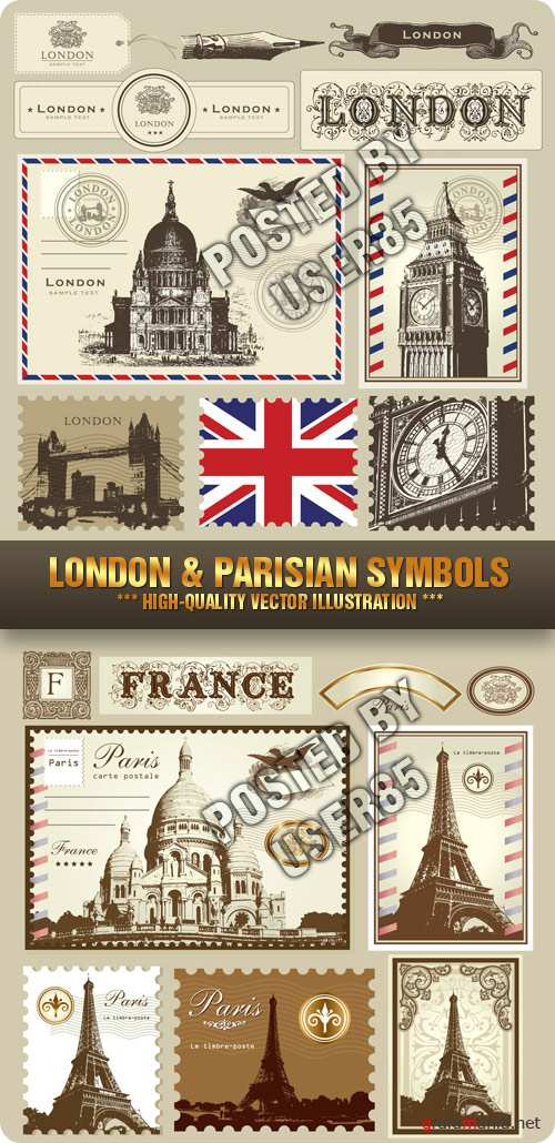 Stock Vector - London & Parisian Symbols