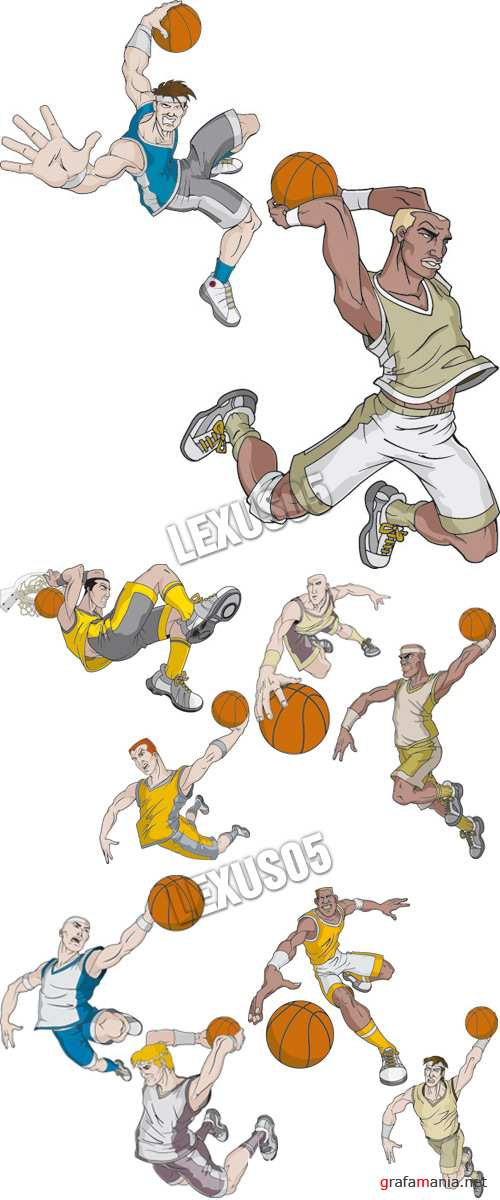 Basketball Players in Action - Vector Illustration