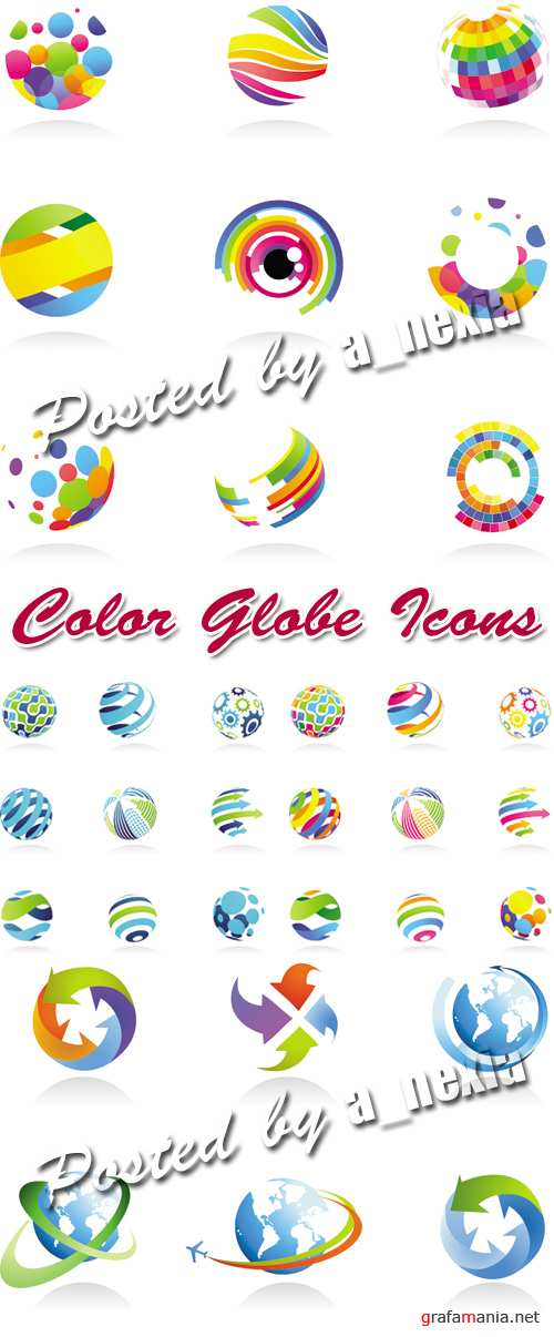 Color Globe Icons Vector