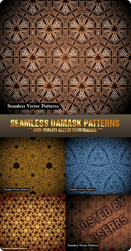 Stock Vector - Seamless Damask Patterns