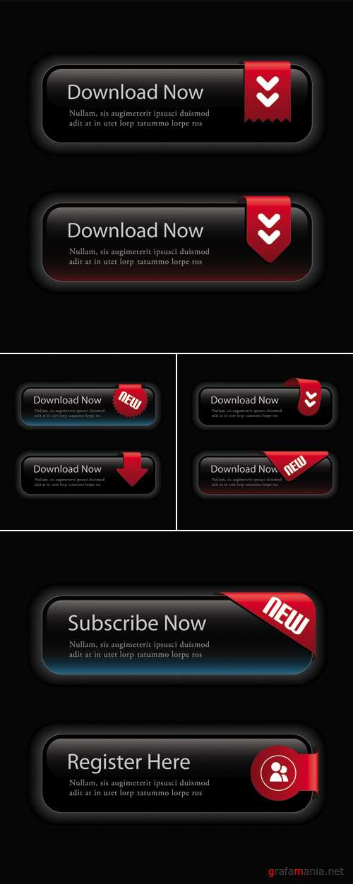 Black Elegant Web Buttons Vector