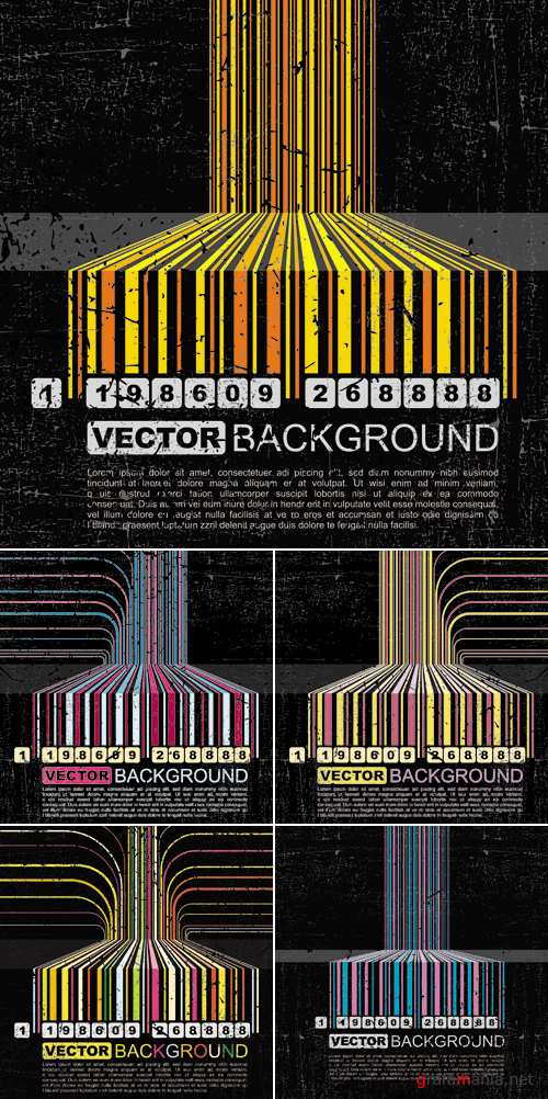 Grunge Barcode Backgrounds Vector