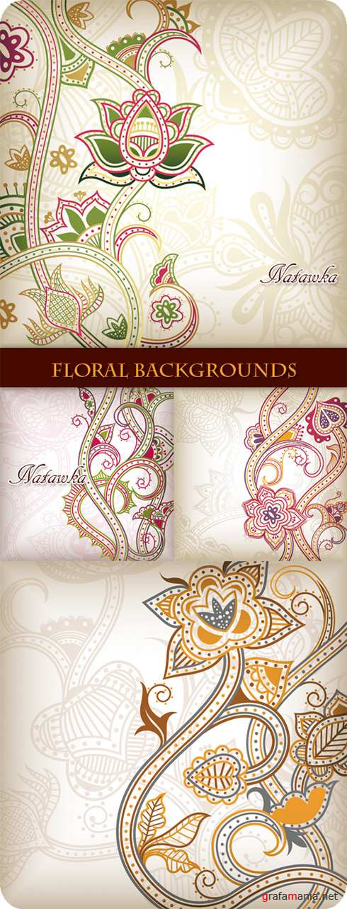 Abstract Floral Backgrounds - Stock Vectors