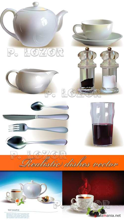 Realistic dishes vector
