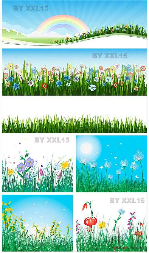 Grass and flowers backgrounds