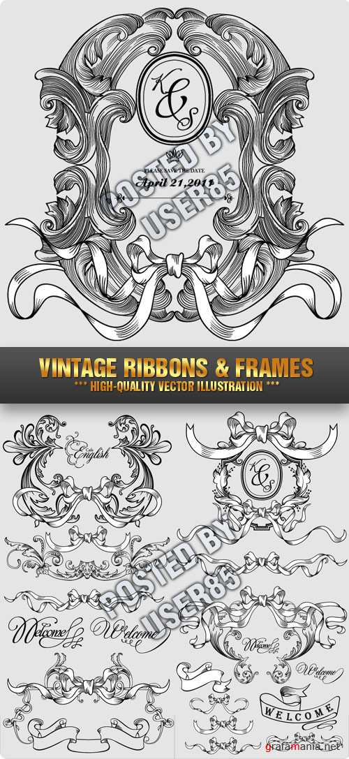 Stock Vector - Vintage Ribbons & Frames
