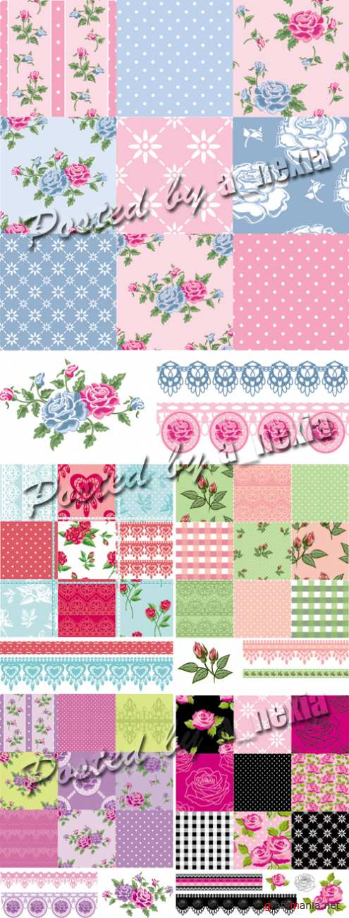 Patchwork Floral Patterns Vector