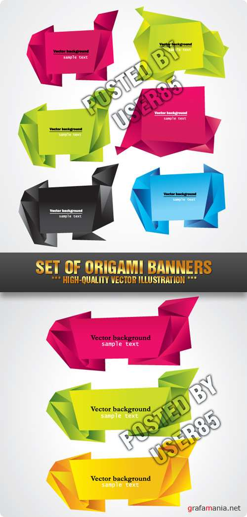Stock Vector - Set of Origami Banners