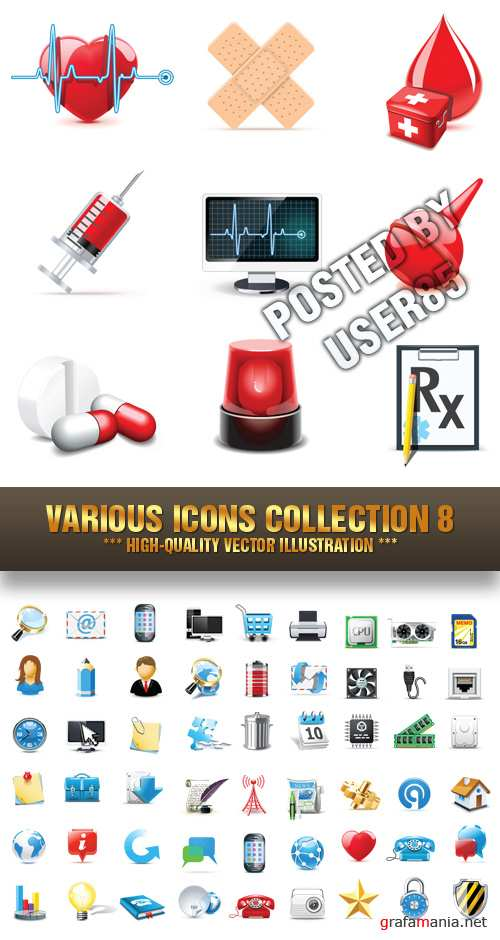 Stock Vector - Various Icons Collection 8