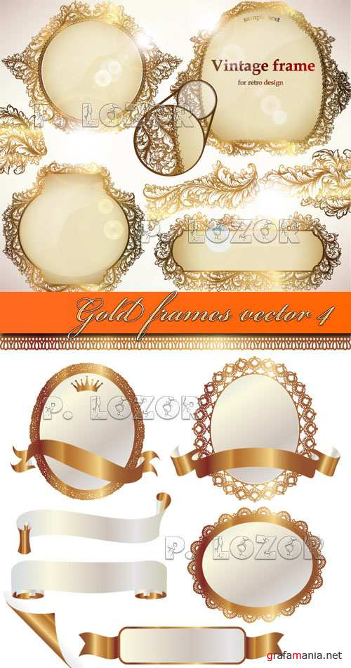 Gold frames vector 4