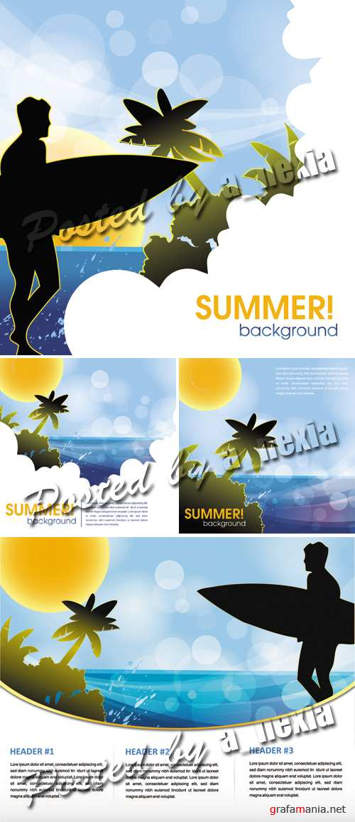 Summer Beach Backgrounds Vector