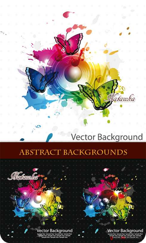 Abstract backgrounds with butterflies - Stock Vector