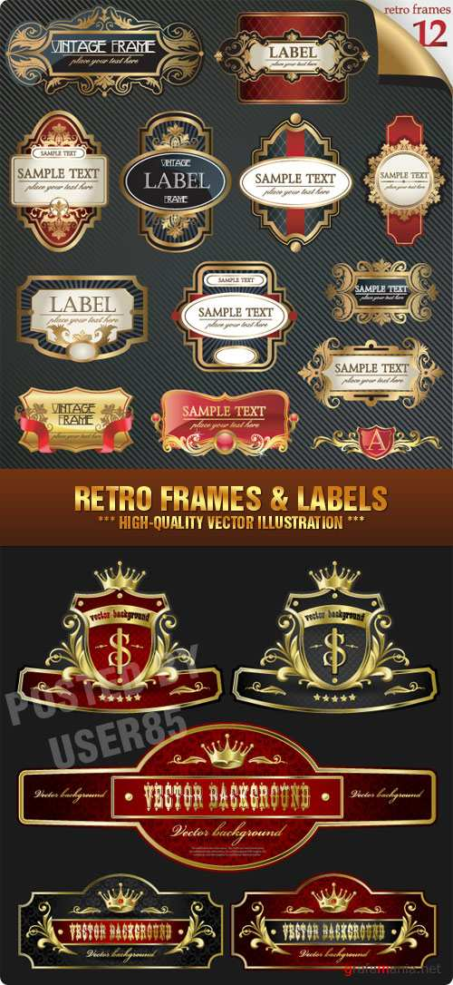 Stock Vector - Retro Frames & Labels