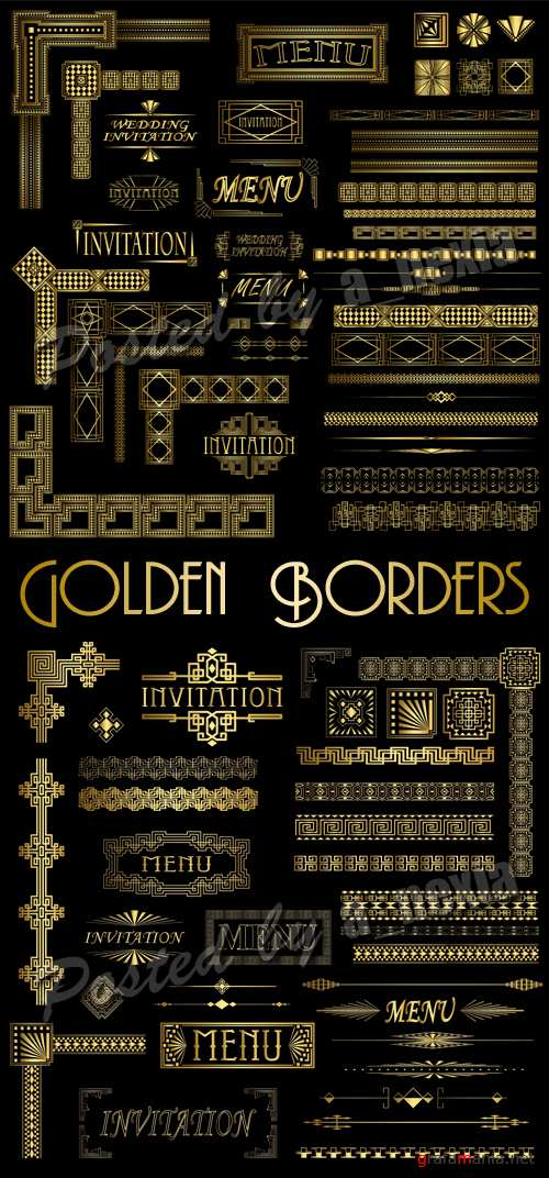 Golden Borders & Design Elements Vector