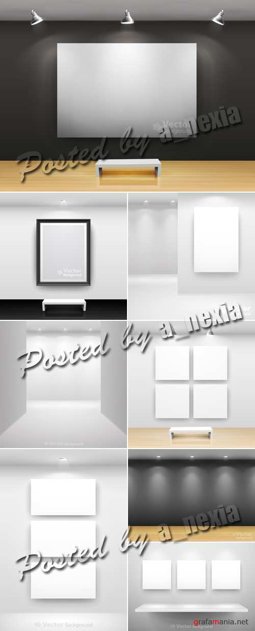 Gallery Interior with Empty Frames Vector 2
