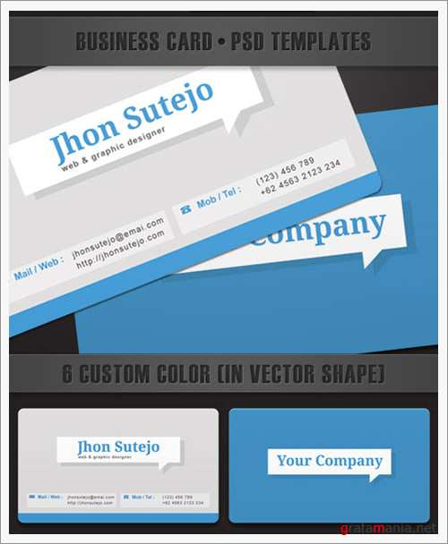 Elegant callout business card PSD Template