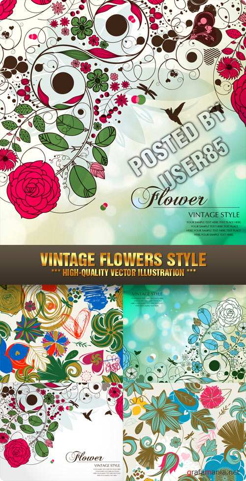 Stock Vector - Vintage Flowers Style