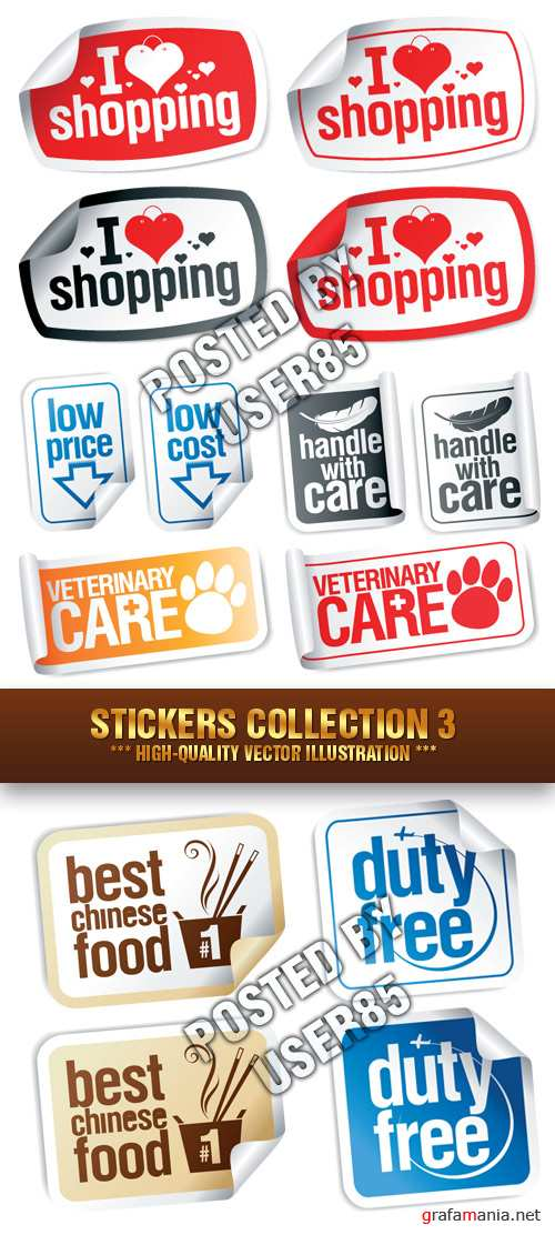 Stock Vector - Stickers Collection 3