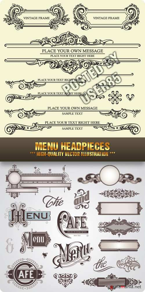 Stock Vector - Menu Headpieces