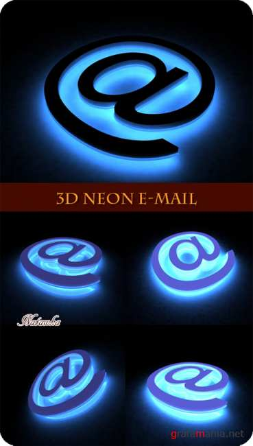 3D Neon E-mail - Stock Photos