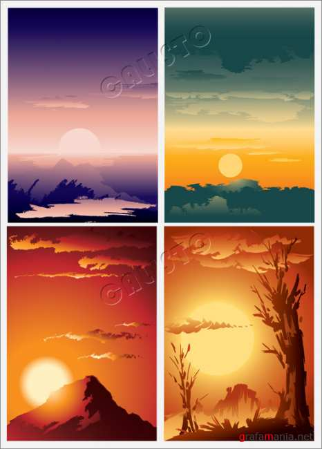 Vector beautiful sunrise and sunset scenery