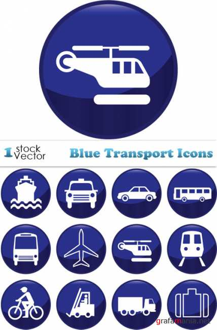 Blue Transport Icons Vector