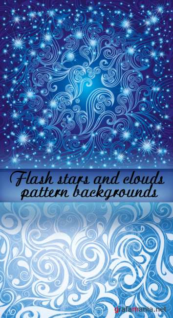 Flash stars and clouds pattern backgrounds