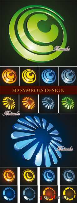 3D элементы. 3D Symbols Design - Stock Vectors