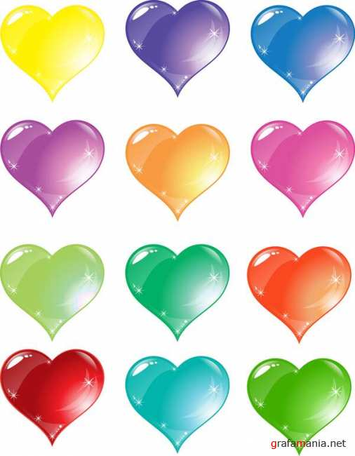 ������������ �������� � ������� / Colorful Heart Love Vector Set