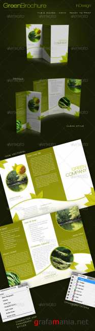 Graphicriver Green Trifold Brochure InDesign Template 235459