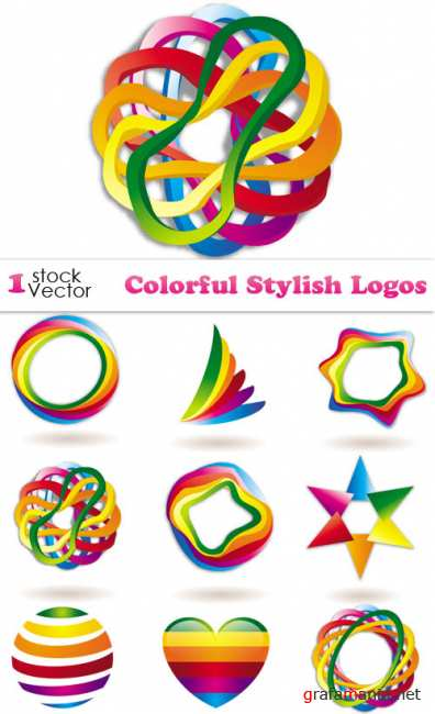Colorful Stylish Logos Vector