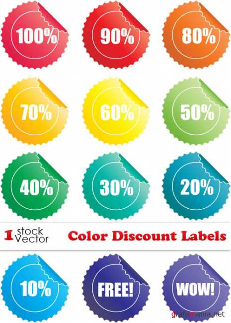 Color Discount Labels Vector