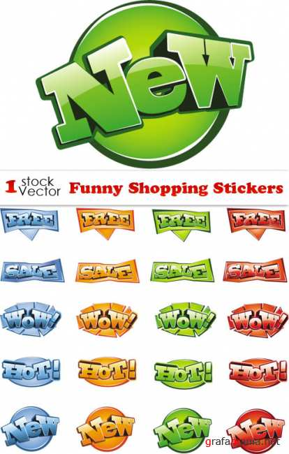Funny Sale Stickers Vector