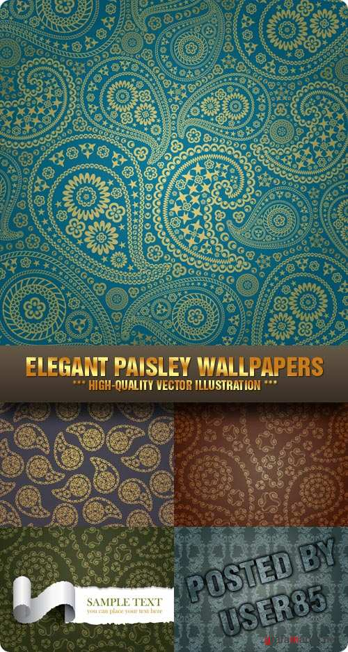 Stock Vector - Elegant Paisley Wallpapers