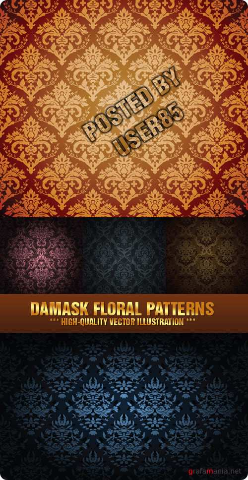 Stock Vector - Damask Floral Patterns