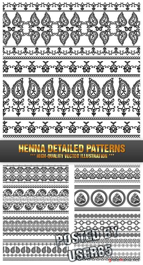 Stock Vector - Henna Detailed Patterns