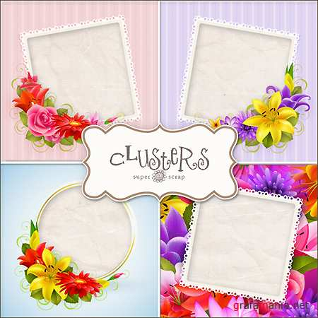 Скрап-страницы - Custer Flower Frames Kit