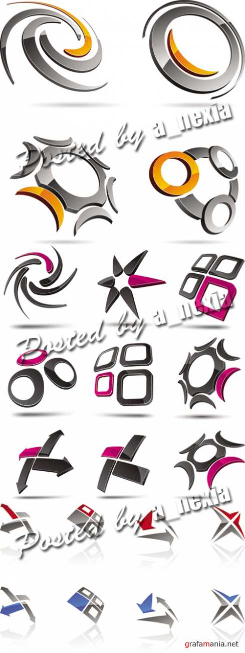 3D Glossy Icons Vector 2
