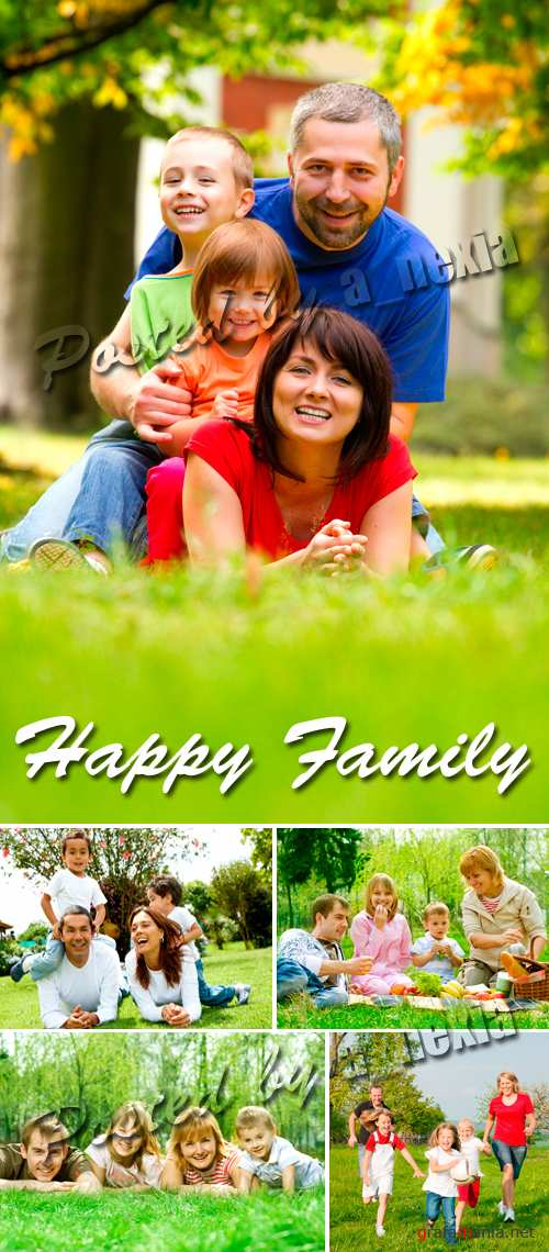 Stock Photo - Happy Family Outdoors