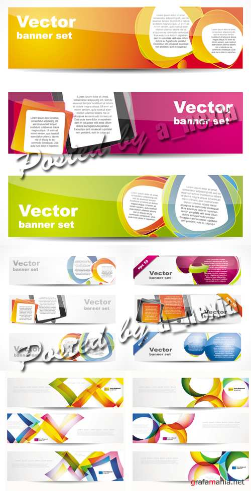 Stylish Glossy Banners Vector