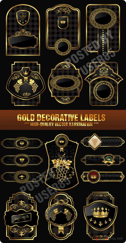 Stock Vector - Gold Decorative Labels