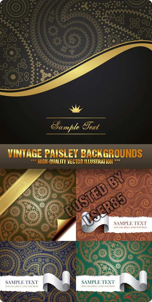 Stock Vector - Vintage Paisley Backgrounds