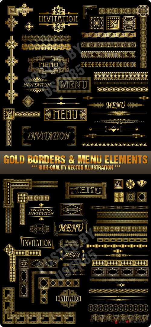 Stock Vector - Gold Borders & Menu Elements