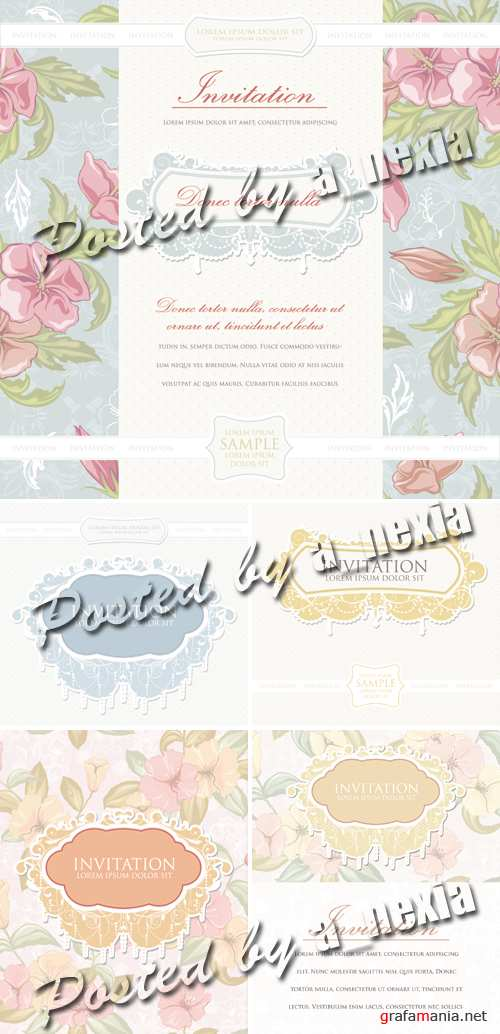 Pastel Vintage Invitations Vector