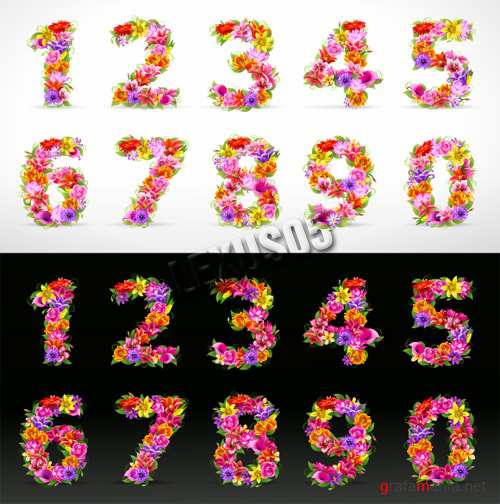 Flower Font Numbers
