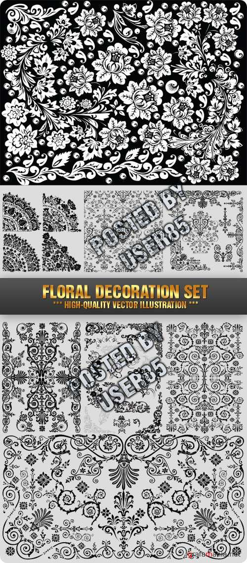 Stock Vector - Floral Decoration Set
