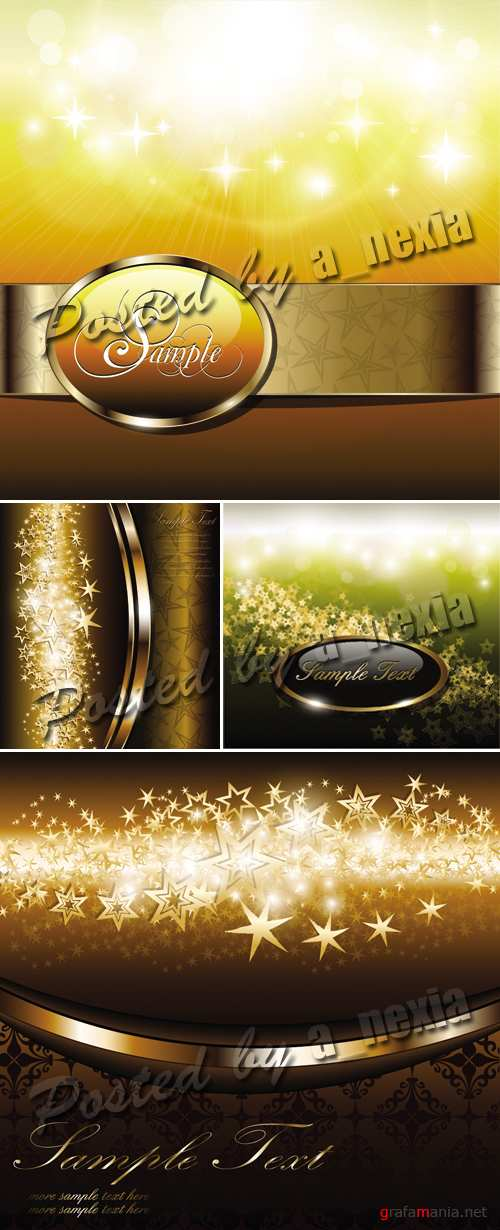 Golden Backgrounds with Stars Vector