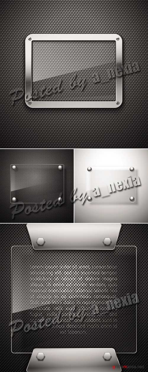 Metal Backgrounds with Glass Frame Vector