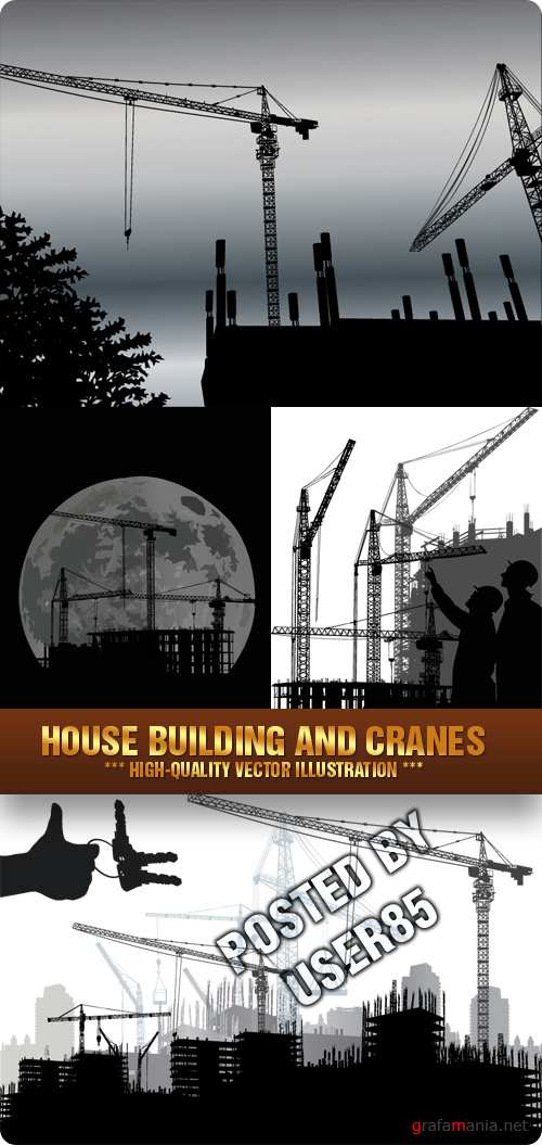 Stock Vector - House Building and Cranes